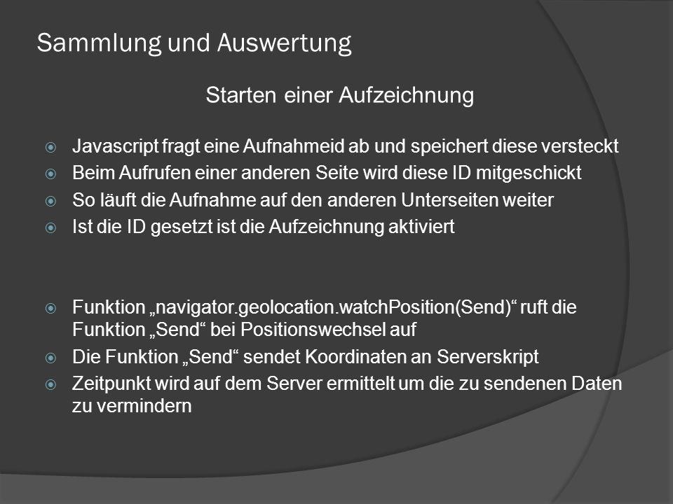 """Sammlung und Auswertung  Javascript fragt eine Aufnahmeid ab und speichert diese versteckt  Beim Aufrufen einer anderen Seite wird diese ID mitgeschickt  So läuft die Aufnahme auf den anderen Unterseiten weiter  Ist die ID gesetzt ist die Aufzeichnung aktiviert  Funktion """"navigator.geolocation.watchPosition(Send) ruft die Funktion """"Send bei Positionswechsel auf  Die Funktion """"Send sendet Koordinaten an Serverskript  Zeitpunkt wird auf dem Server ermittelt um die zu sendenen Daten zu vermindern Starten einer Aufzeichnung"""
