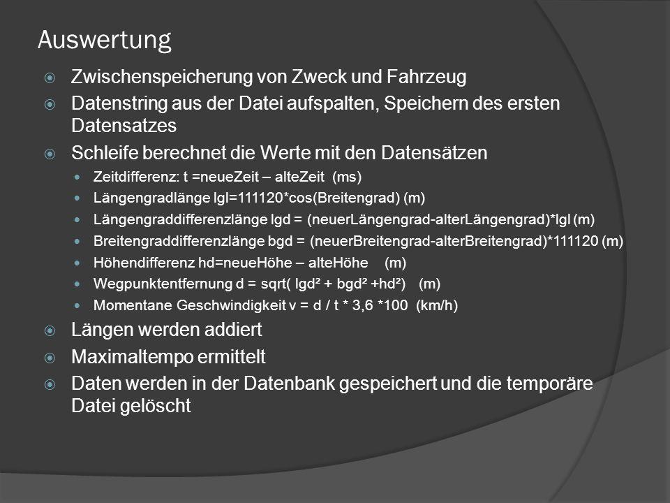 Auswertung  Zwischenspeicherung von Zweck und Fahrzeug  Datenstring aus der Datei aufspalten, Speichern des ersten Datensatzes  Schleife berechnet die Werte mit den Datensätzen Zeitdifferenz: t =neueZeit – alteZeit (ms) Längengradlänge lgl=111120*cos(Breitengrad) (m) Längengraddifferenzlänge lgd = (neuerLängengrad-alterLängengrad)*lgl (m) Breitengraddifferenzlänge bgd = (neuerBreitengrad-alterBreitengrad)*111120 (m) Höhendifferenz hd=neueHöhe – alteHöhe (m) Wegpunktentfernung d = sqrt( lgd² + bgd² +hd²) (m) Momentane Geschwindigkeit v = d / t * 3,6 *100 (km/h)  Längen werden addiert  Maximaltempo ermittelt  Daten werden in der Datenbank gespeichert und die temporäre Datei gelöscht