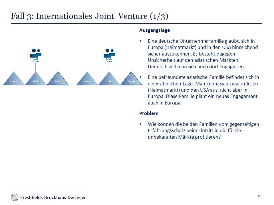 Print slide Fall 3: Internationales Joint Venture (1/3) Ausgangslage Eine deutsche Unternehmerfamilie glaubt, sich in Europa (Heimatmarkt) und in den USA hinreichend sicher auszukennen.