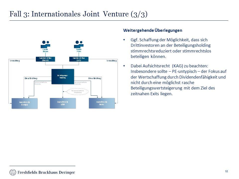 Print slide Fall 3: Internationales Joint Venture (3/3) 18 Weitergehende Überlegungen Ggf.