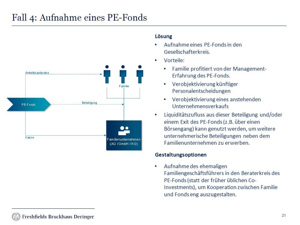 Print slide Fall 4: Aufnahme eines PE-Fonds Lösung Aufnahme eines PE-Fonds in den Gesellschafterkreis.