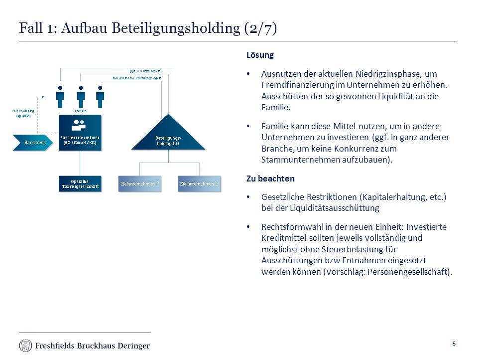 Print slide Fall 1: Aufbau Beteiligungsholding (2/7) 5 Lösung Ausnutzen der aktuellen Niedrigzinsphase, um Fremdfinanzierung im Unternehmen zu erhöhen.
