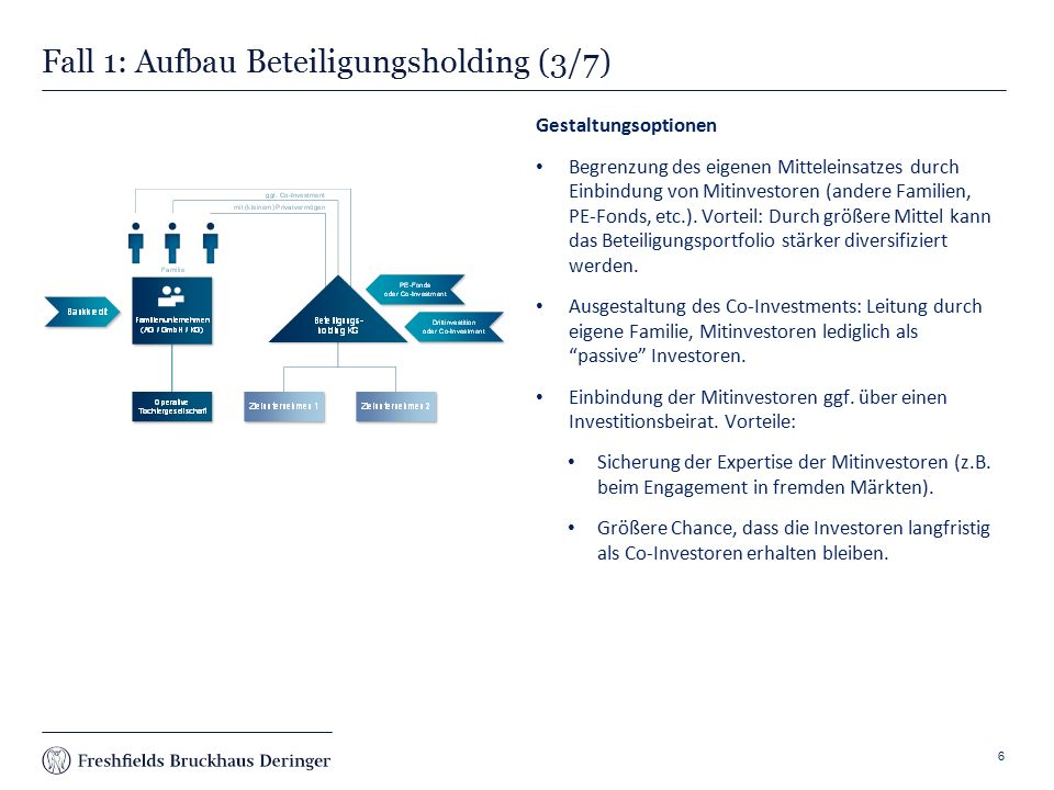Print slide Fall 3: Internationales Joint Venture (2/3) Lösung Gründung eines internationalen family office joint ventures als Chancen- und Risikogemeinschaft, um die regionalen Märkte hinter sich zu lassen.