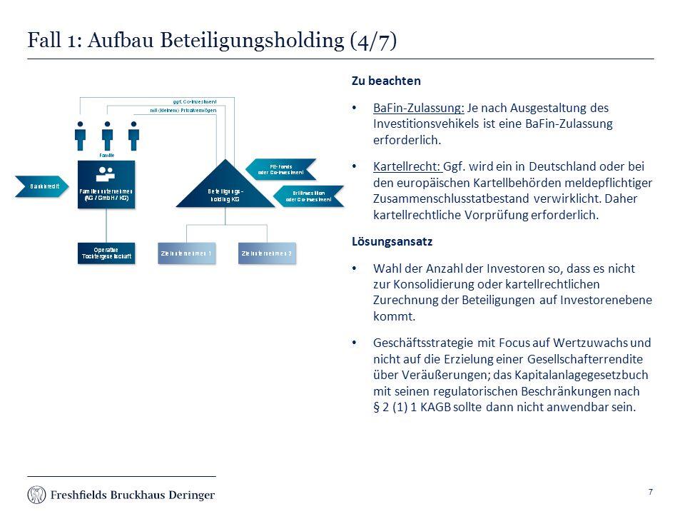Print slide Fall 1: Aufbau Beteiligungsholding (4/7) Zu beachten BaFin-Zulassung: Je nach Ausgestaltung des Investitionsvehikels ist eine BaFin-Zulassung erforderlich.