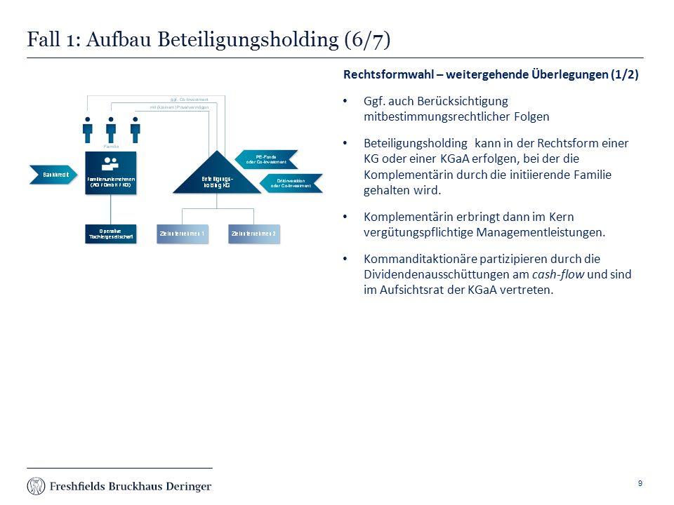 Print slide Fall 1: Aufbau Beteiligungsholding (6/7) Rechtsformwahl – weitergehende Überlegungen (1/2) Ggf.