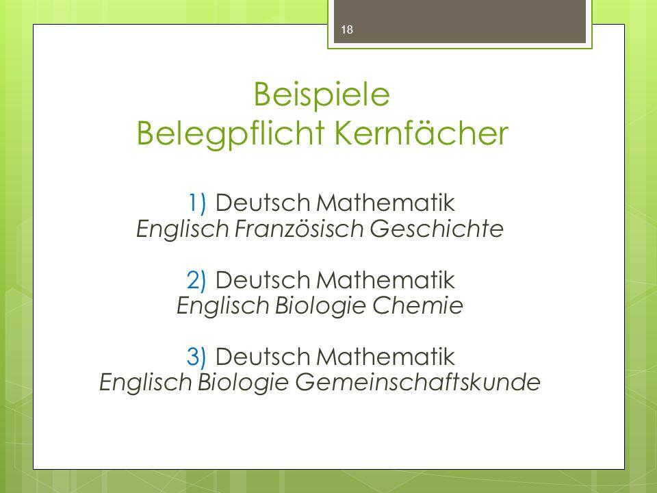 Beispiele Belegpflicht Kernfächer 1) Deutsch Mathematik Englisch Französisch Geschichte 2) Deutsch Mathematik Englisch Biologie Chemie 3) Deutsch Math
