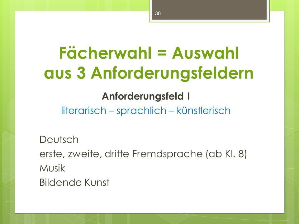 Fächerwahl = Auswahl aus 3 Anforderungsfeldern Anforderungsfeld I literarisch – sprachlich – künstlerisch Deutsch erste, zweite, dritte Fremdsprache (