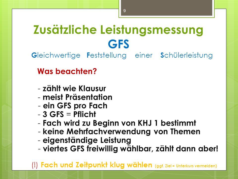 Zusätzliche Leistungsmessung GFS G leichwertige F eststellung einer S chülerleistung Was beachten? - zählt wie Klausur - meist Präsentation - ein GFS