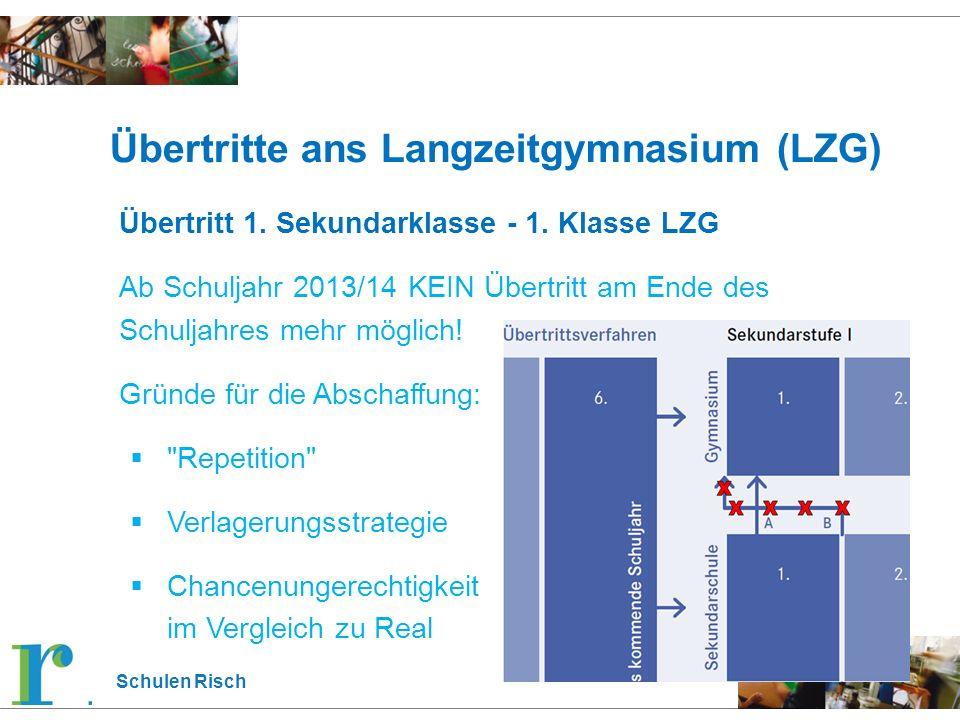 Schulen Risch Übertritte ans Langzeitgymnasium (LZG) Übertritt 1. Sekundarklasse - 1. Klasse LZG Ab Schuljahr 2013/14 KEIN Übertritt am Ende des Schul