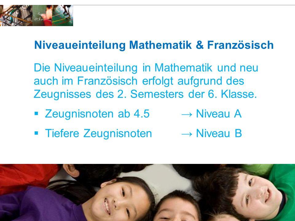 Schulen Risch Niveaueinteilung Mathematik & Französisch Die Niveaueinteilung in Mathematik und neu auch im Französisch erfolgt aufgrund des Zeugnisses des 2.