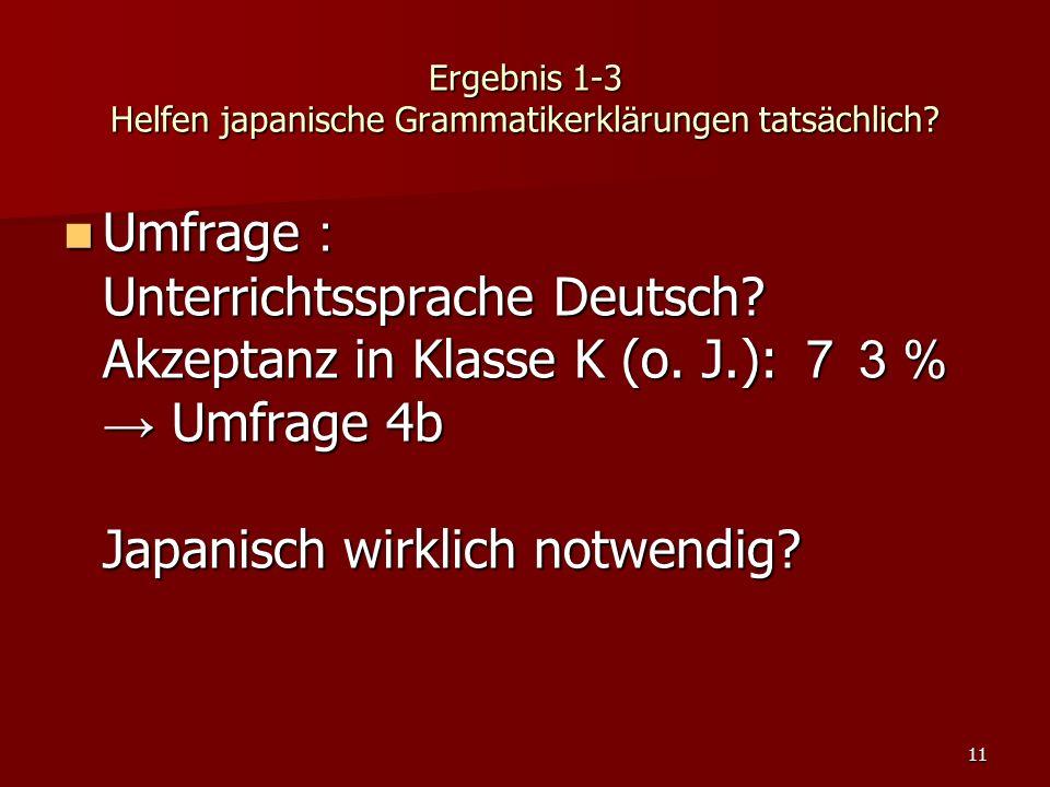 11 Ergebnis 1-3 Helfen japanische Grammatikerkl ä rungen tats ä chlich? Umfrage : Unterrichtssprache Deutsch? Akzeptanz in Klasse K (o. J.): 73% → Umf
