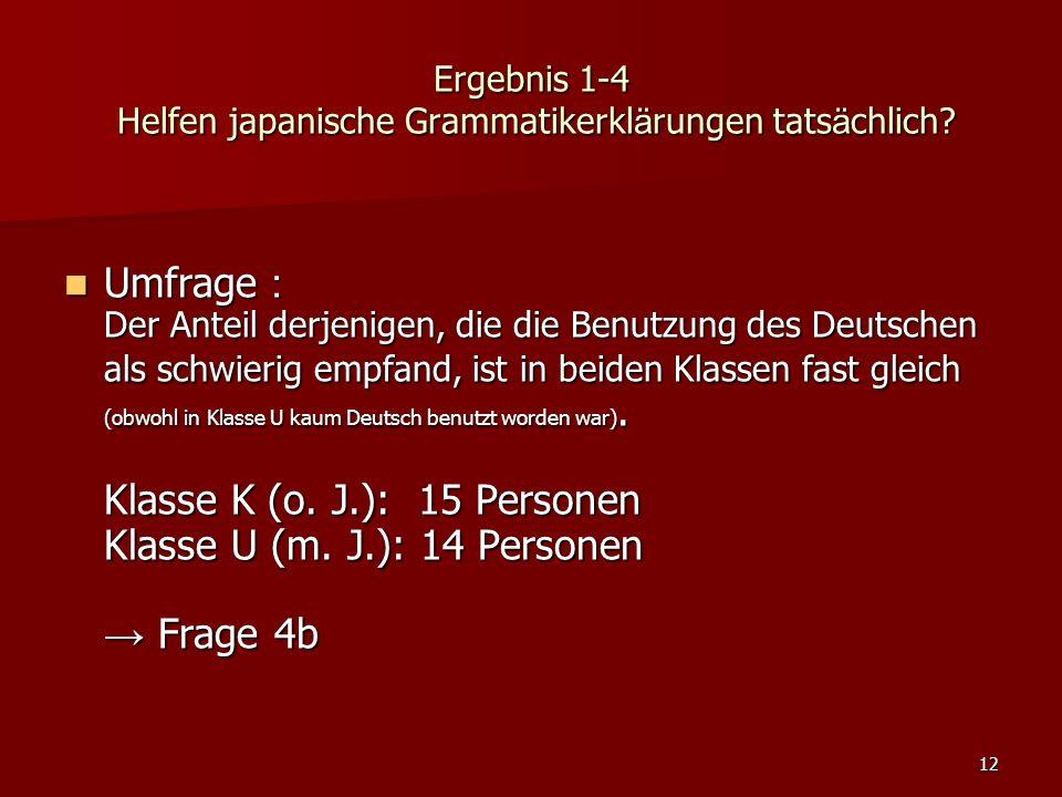 12 Ergebnis 1-4 Helfen japanische Grammatikerkl ä rungen tats ä chlich? Umfrage : Der Anteil derjenigen, die die Benutzung des Deutschen als schwierig