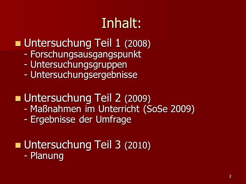 2 Inhalt: Untersuchung Teil 1 (2008) - Forschungsausgangspunkt - Untersuchungsgruppen - Untersuchungsergebnisse Untersuchung Teil 1 (2008) - Forschung