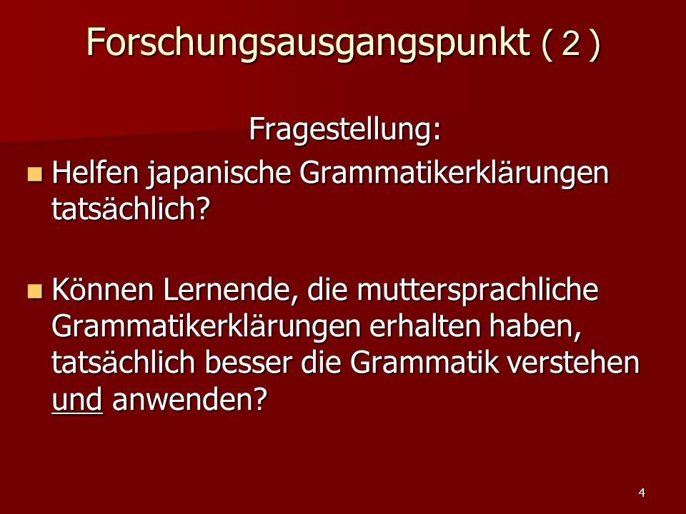 4 Forschungsausgangspunkt ( 2 ) Fragestellung: Helfen japanische Grammatikerkl ä rungen tats ä chlich? Helfen japanische Grammatikerkl ä rungen tats ä