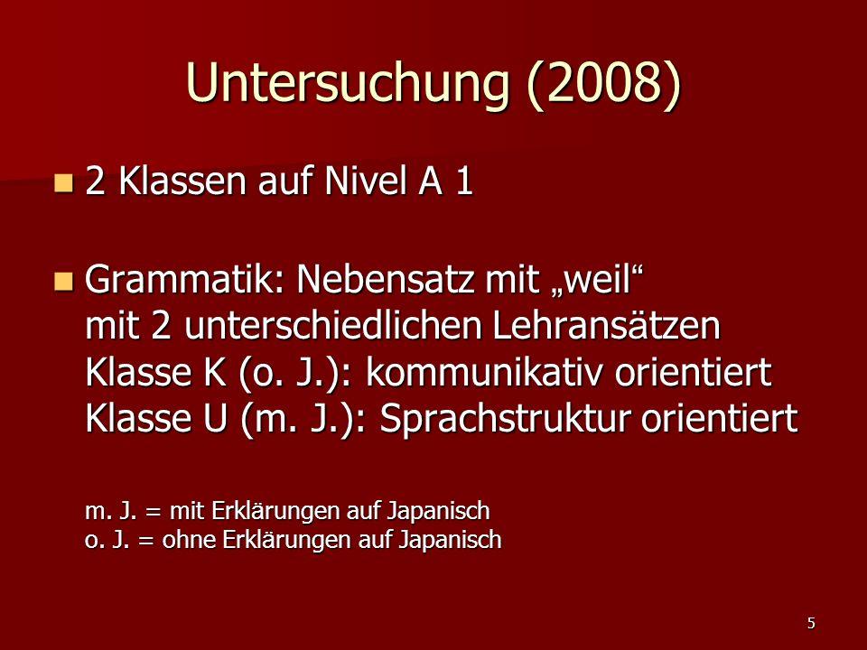 """5 Untersuchung (2008) 2 Klassen auf Nivel A 1 2 Klassen auf Nivel A 1 Grammatik: Nebensatz mit """" weil mit 2 unterschiedlichen Lehrans ä tzen Klasse K (o."""