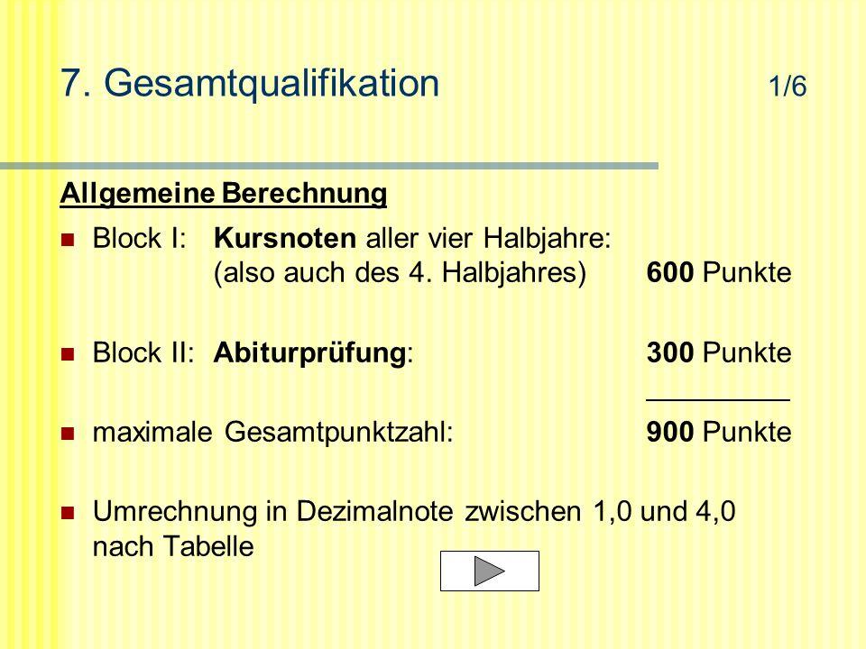 7. Gesamtqualifikation 1/6 Allgemeine Berechnung Block I:Kursnoten aller vier Halbjahre: (also auch des 4. Halbjahres)600 Punkte Block II:Abiturprüfun