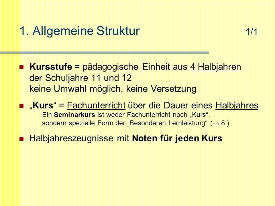 """1. Allgemeine Struktur 1/1 Kursstufe = pädagogische Einheit aus 4 Halbjahren der Schuljahre 11 und 12 keine Umwahl möglich, keine Versetzung """"Kurs"""" ="""