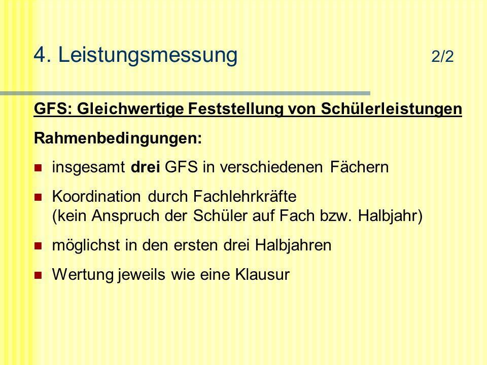 4. Leistungsmessung 2/2 GFS: Gleichwertige Feststellung von Schülerleistungen Rahmenbedingungen: insgesamt drei GFS in verschiedenen Fächern Koordinat