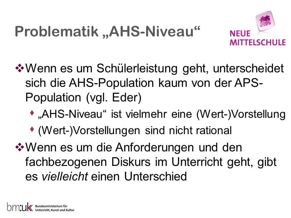 """Problematik """"AHS-Niveau""""  Wenn es um Schülerleistung geht, unterscheidet sich die AHS-Population kaum von der APS- Population (vgl. Eder)  """"AHS-Nive"""
