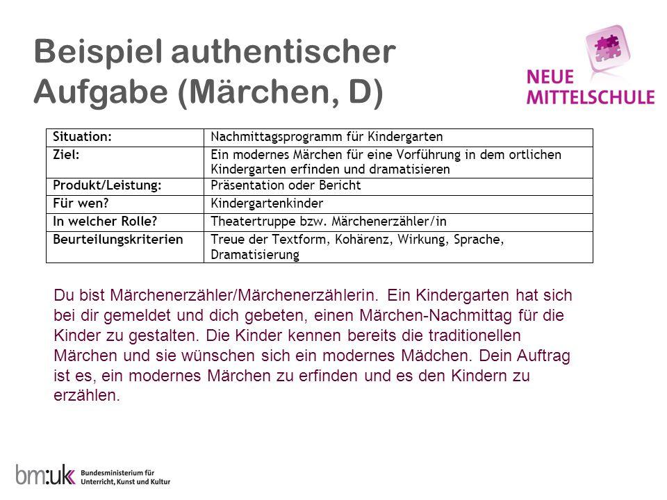 Beispiel authentischer Aufgabe (Märchen, D) Du bist Märchenerzähler/Märchenerzählerin.