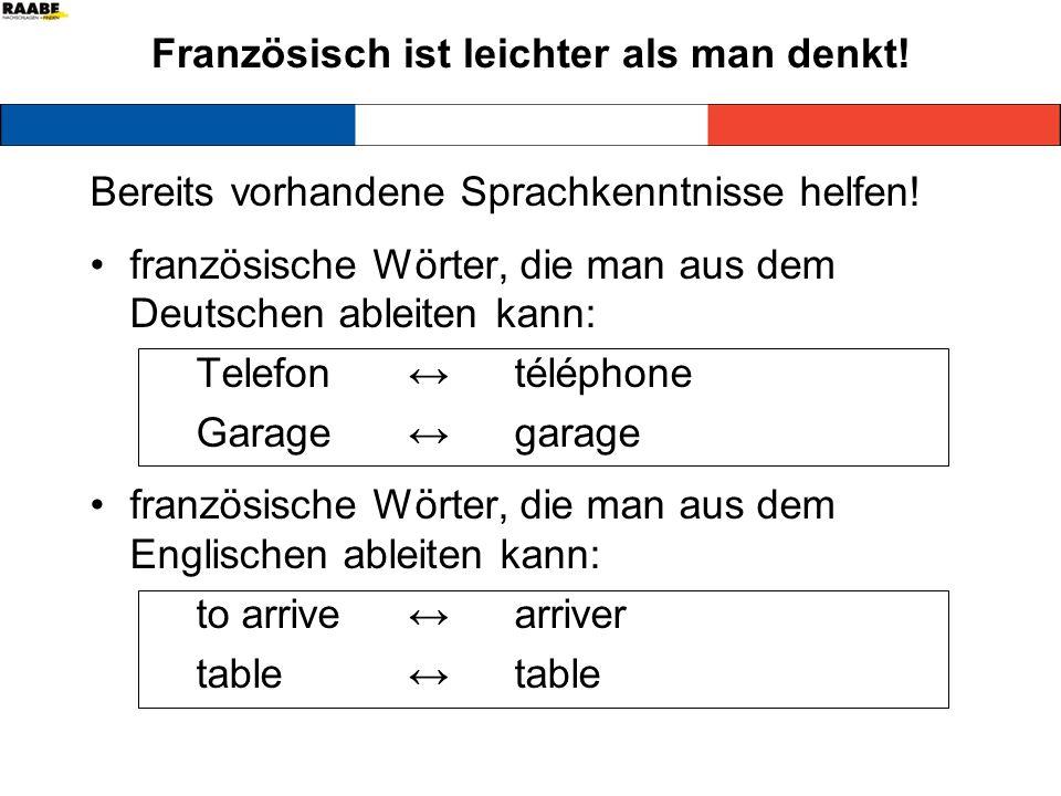 Französisch ist leichter als man denkt! Bereits vorhandene Sprachkenntnisse helfen! französische Wörter, die man aus dem Deutschen ableiten kann: Tele