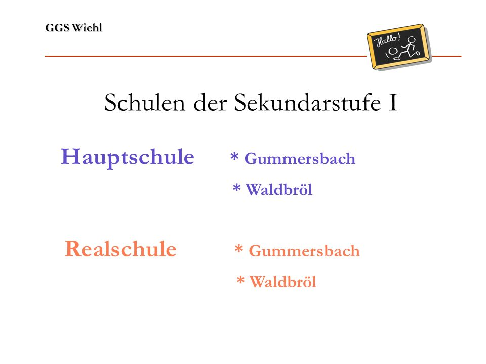 GGS Wiehl ______________________________________________________________ Schulen der Sekundarstufe I Hauptschule * Gummersbach * Waldbröl Realschule *