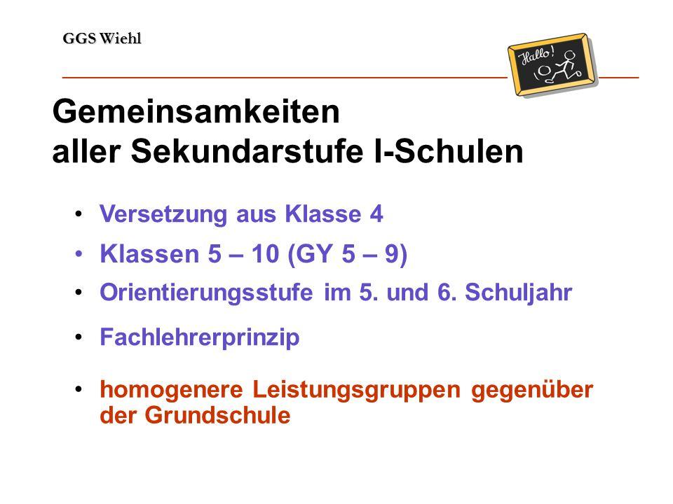 GGS Wiehl ______________________________________________________________ Gemeinsamkeiten aller Sekundarstufe I-Schulen Klassen 5 – 10 (GY 5 – 9) Fachlehrerprinzip homogenere Leistungsgruppen gegenüber der Grundschule Orientierungsstufe im 5.
