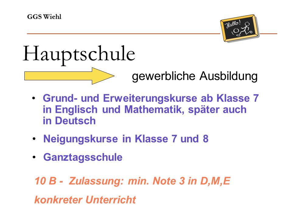 GGS Wiehl ______________________________________________________________ Hauptschule gewerbliche Ausbildung Grund- und Erweiterungskurse ab Klasse 7 in Englisch und Mathematik, später auch in Deutsch Neigungskurse in Klasse 7 und 8 Ganztagsschule 10 B - Zulassung: min.