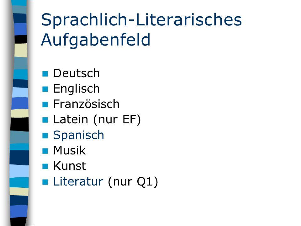 Sprachlich-Literarisches Aufgabenfeld Deutsch Englisch Französisch Latein (nur EF) Spanisch Musik Kunst Literatur (nur Q1)