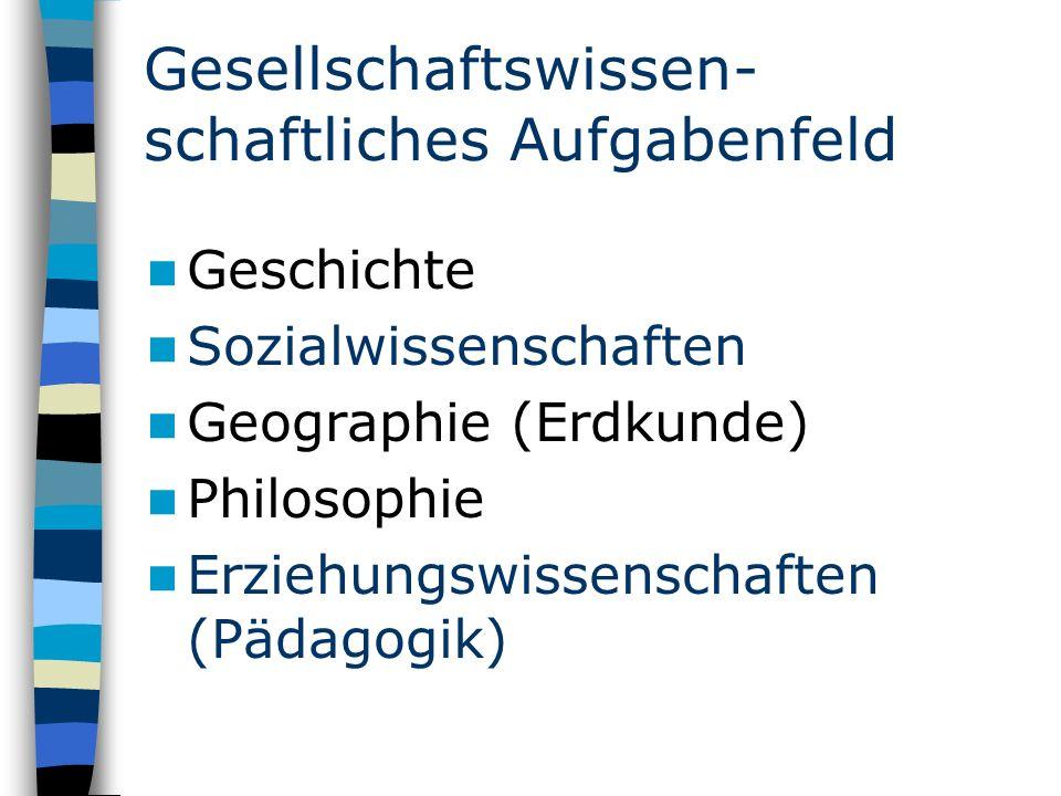 Gesellschaftswissen- schaftliches Aufgabenfeld Geschichte Sozialwissenschaften Geographie (Erdkunde) Philosophie Erziehungswissenschaften (Pädagogik)