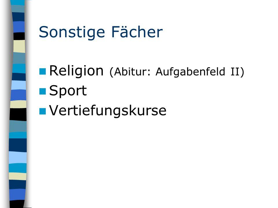 Sonstige Fächer Religion (Abitur: Aufgabenfeld II) Sport Vertiefungskurse