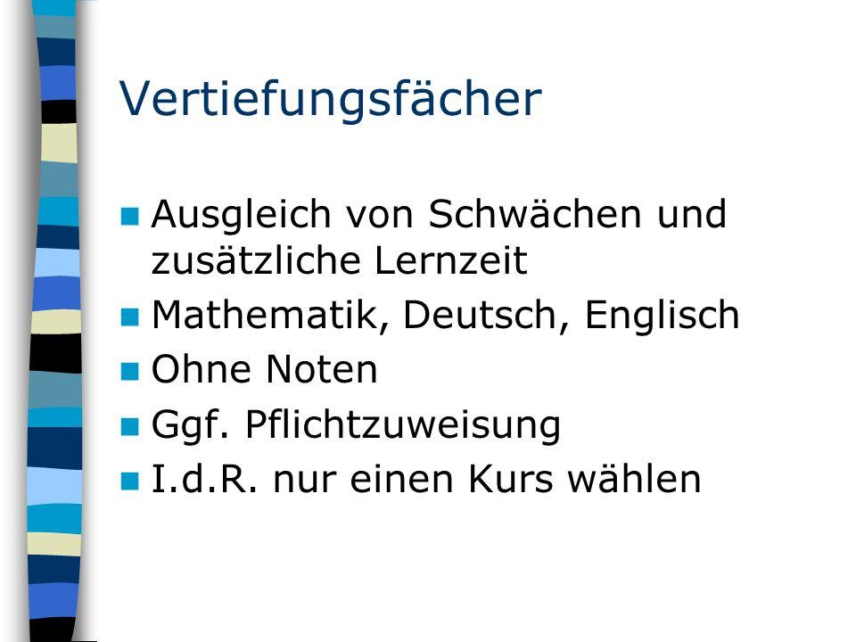 Vertiefungsfächer Ausgleich von Schwächen und zusätzliche Lernzeit Mathematik, Deutsch, Englisch Ohne Noten Ggf.