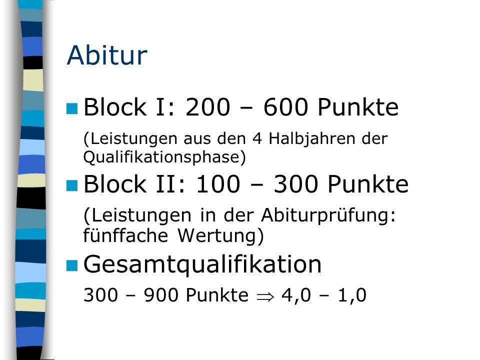 Abitur Block I: 200 – 600 Punkte (Leistungen aus den 4 Halbjahren der Qualifikationsphase) Block II: 100 – 300 Punkte (Leistungen in der Abiturprüfung: fünffache Wertung) Gesamtqualifikation 300 – 900 Punkte  4,0 – 1,0