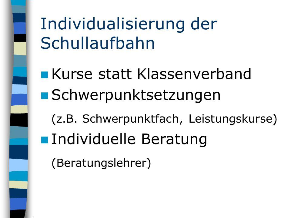 Individualisierung der Schullaufbahn Kurse statt Klassenverband Schwerpunktsetzungen (z.B.