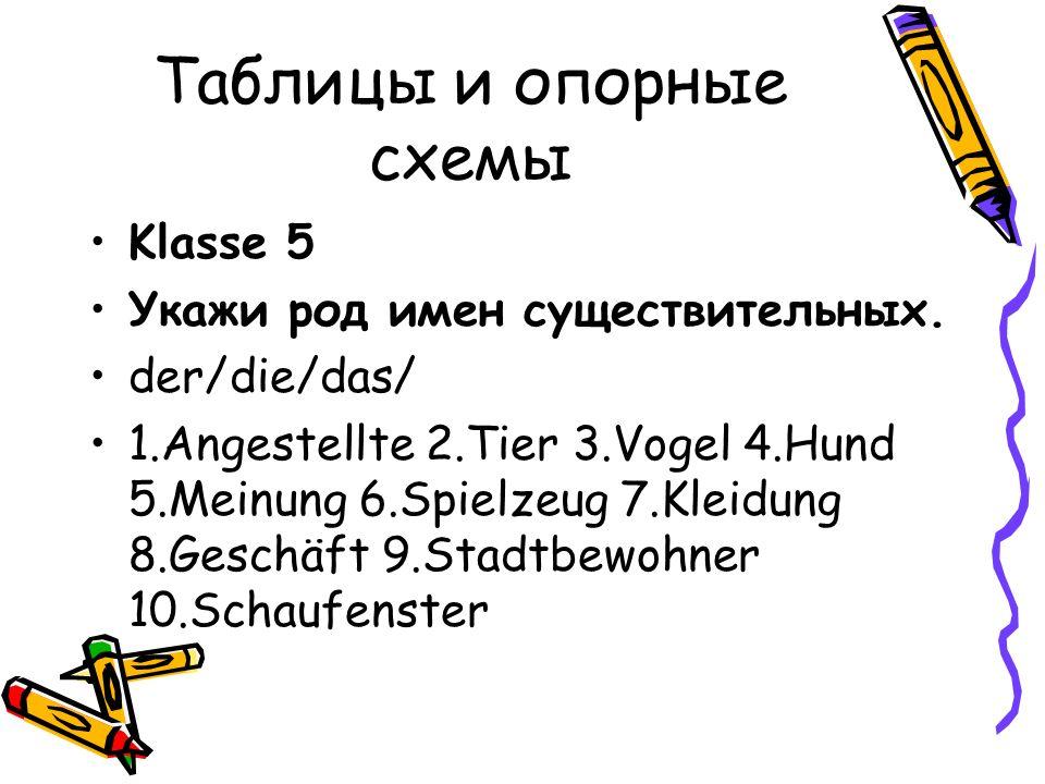 Таблицы и опорные схемы Klasse 5 Укажи род имен существительных.