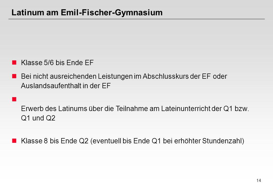 14 Latinum am Emil-Fischer-Gymnasium Klasse 5/6 bis Ende EF Bei nicht ausreichenden Leistungen im Abschlusskurs der EF oder Auslandsaufenthalt in der