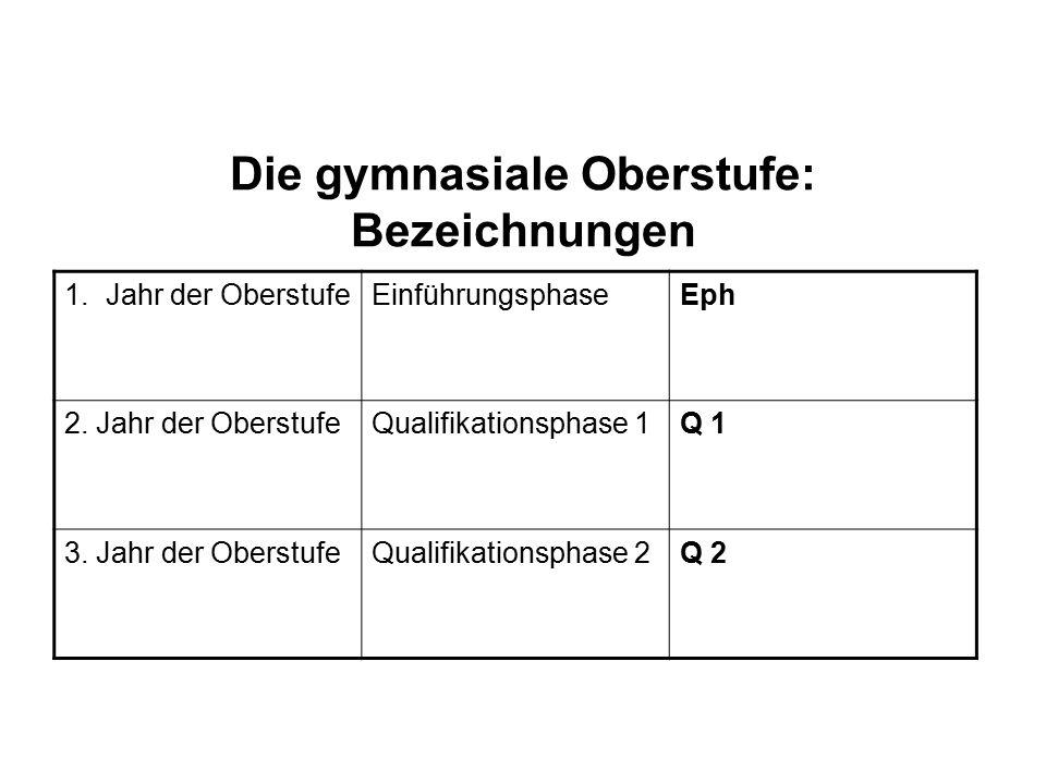 Die gymnasiale Oberstufe: Bezeichnungen 1.Jahr der OberstufeEinführungsphaseEph 2.