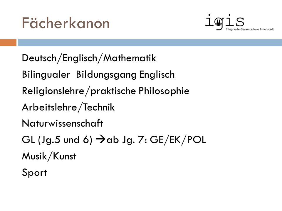 Fächerkanon Deutsch/Englisch/Mathematik Bilingualer Bildungsgang Englisch Religionslehre/praktische Philosophie Arbeitslehre/Technik Naturwissenschaft GL (Jg.5 und 6)  ab Jg.