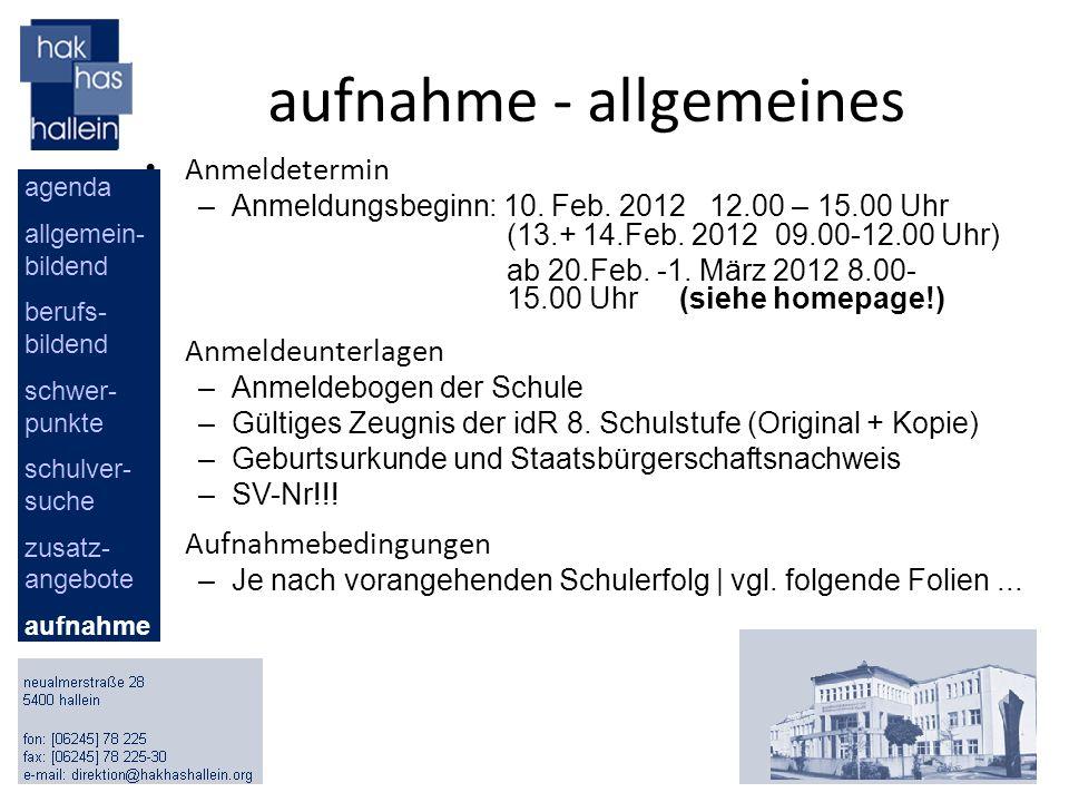 aufnahme - allgemeines Anmeldetermin –Anmeldungsbeginn: 10. Feb. 2012 12.00 – 15.00 Uhr (13.+ 14.Feb. 2012 09.00-12.00 Uhr) ab 20.Feb. -1. März 2012 8