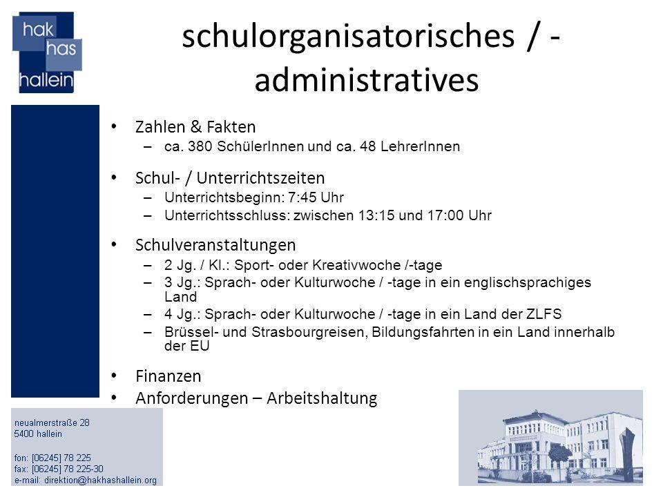 schulorganisatorisches / - administratives Zahlen & Fakten –ca. 380 SchülerInnen und ca. 48 LehrerInnen Schul- / Unterrichtszeiten –Unterrichtsbeginn: