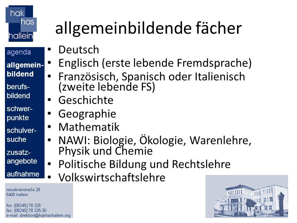 allgemeinbildende fächer Deutsch Englisch (erste lebende Fremdsprache) Französisch, Spanisch oder Italienisch (zweite lebende FS) Geschichte Geographi