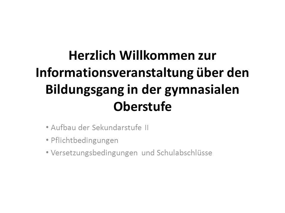 Herzlich Willkommen zur Informationsveranstaltung über den Bildungsgang in der gymnasialen Oberstufe Aufbau der Sekundarstufe II Pflichtbedingungen Ve
