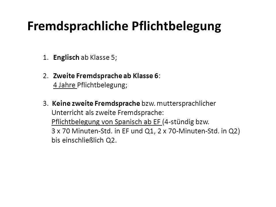 Fremdsprachliche Pflichtbelegung 1.Englisch ab Klasse 5; 2.Zweite Fremdsprache ab Klasse 6: 4 Jahre Pflichtbelegung; 3. Keine zweite Fremdsprache bzw.