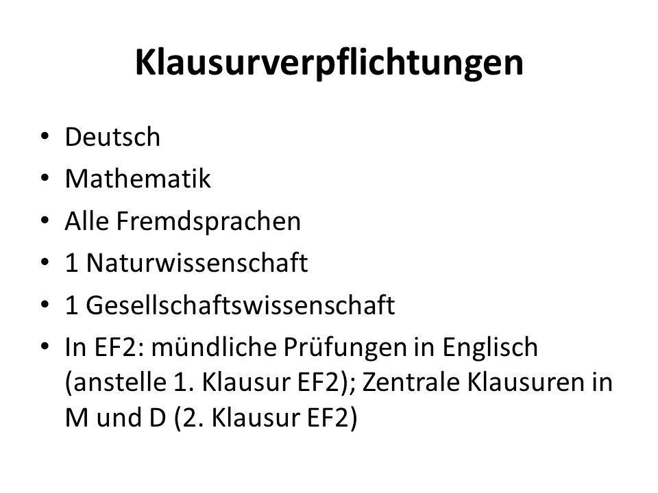 Klausurverpflichtungen Deutsch Mathematik Alle Fremdsprachen 1 Naturwissenschaft 1 Gesellschaftswissenschaft In EF2: mündliche Prüfungen in Englisch (anstelle 1.