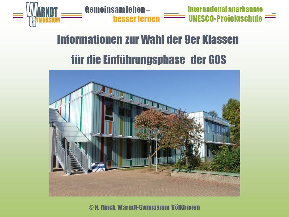 Informationen zur Wahl der 9er Klassen für die Einführungsphase der GOS Gemeinsam leben – besser lernen UNESCO-Projektschule international anerkannte © N.