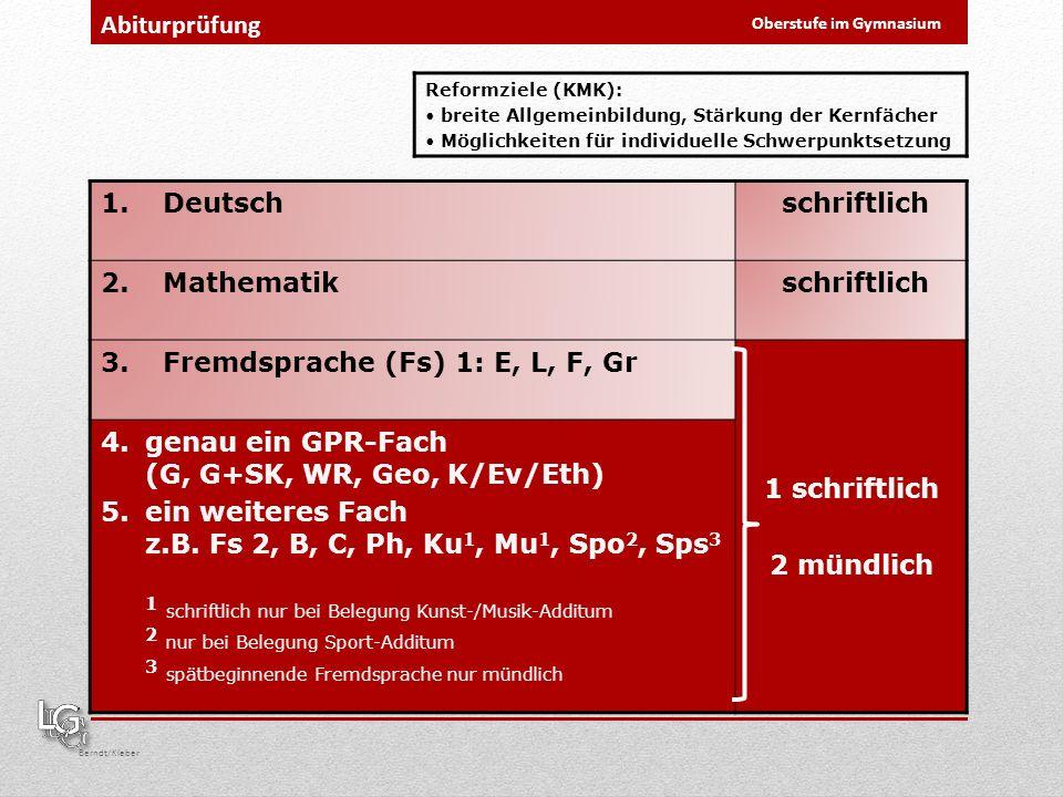 Oberstufe im Gymnasium Berndt/Kleber Abiturprüfung 1.Deutsch schriftlich 2.Mathematik schriftlich 3.Fremdsprache (Fs) 1: E, L, F, Gr 1 schriftlich 2 m