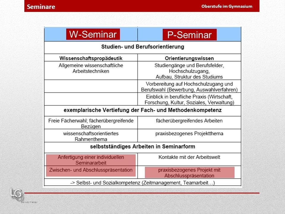 Berndt/Kleber Oberstufe im Gymnasium Seminare W-Seminar P-Seminar