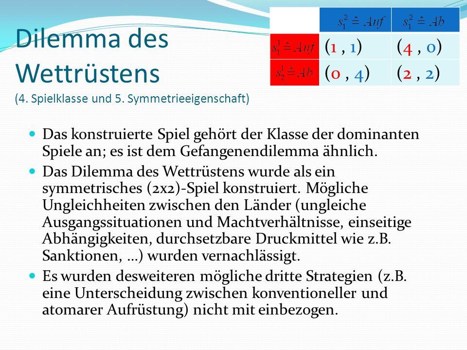 (1, 1)(4, 0) (0, 4)(2, 2) Das konstruierte Spiel gehört der Klasse der dominanten Spiele an; es ist dem Gefangenendilemma ähnlich.