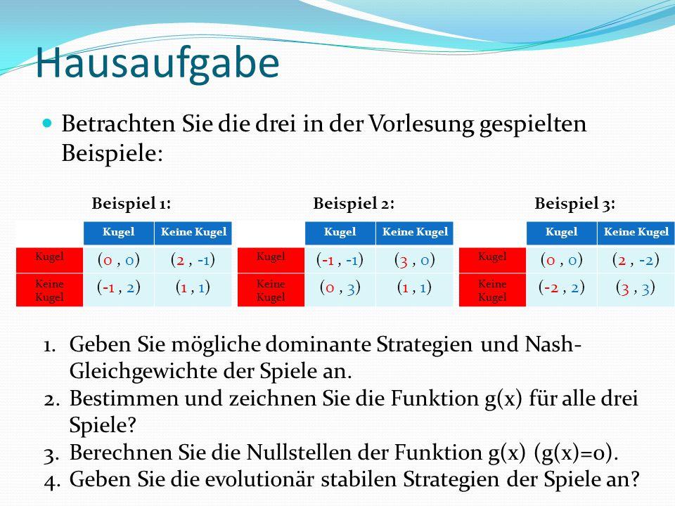 Hausaufgabe Betrachten Sie die drei in der Vorlesung gespielten Beispiele: 1.Geben Sie mögliche dominante Strategien und Nash- Gleichgewichte der Spiele an.