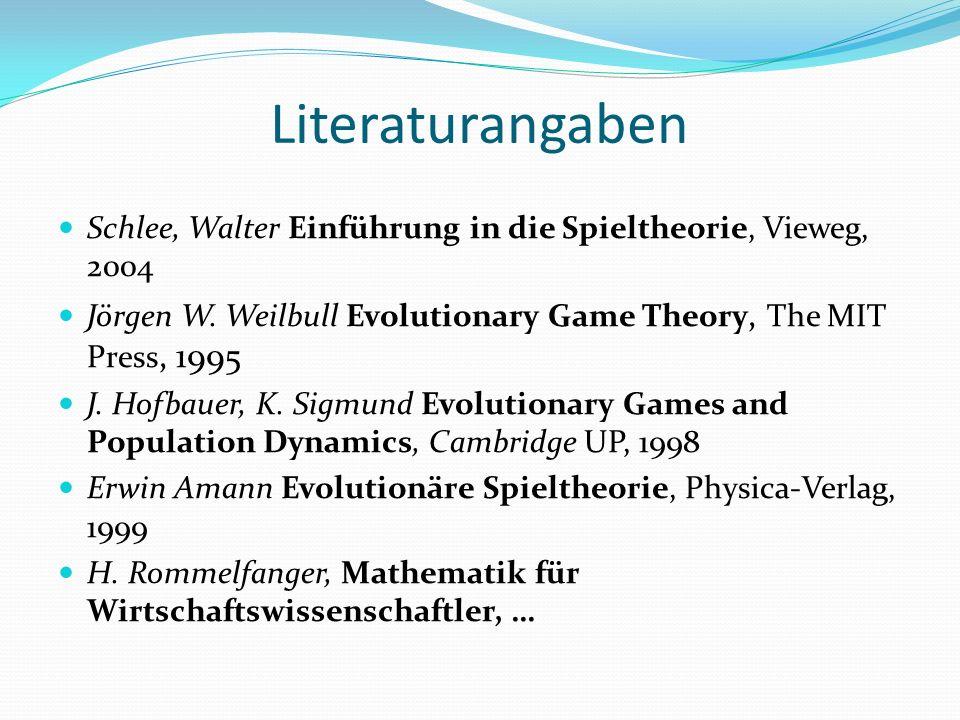 Literaturangaben Schlee, Walter Einführung in die Spieltheorie, Vieweg, 2004 Jörgen W.